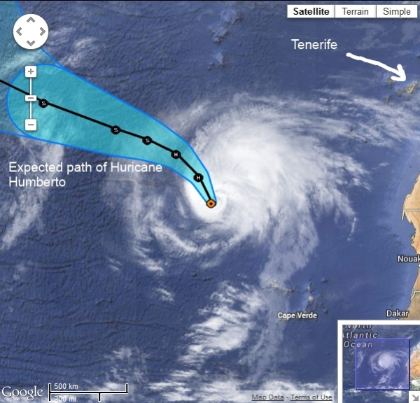 Huricane Humberto Passes Close to Tenerife